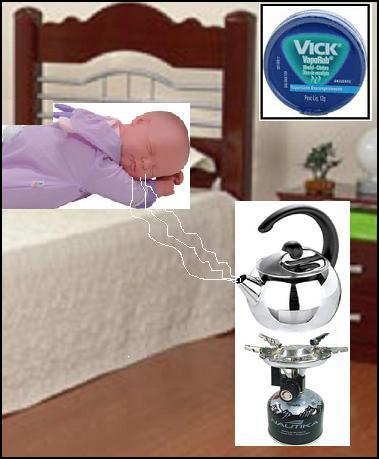 A imagem mostra uma criança deitada em sua cama, recebendo vapor para respirar melhor